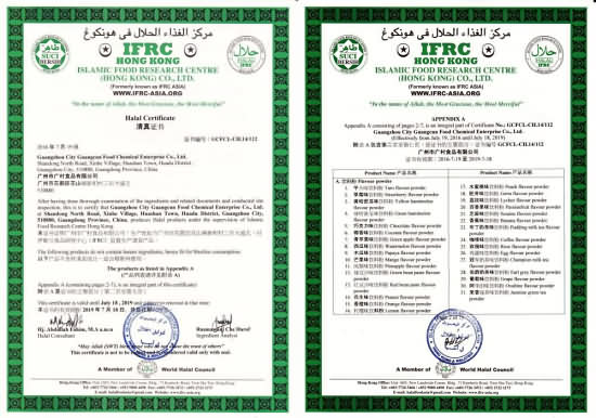 halal certificate for bubble tea ingredients, test report for bubble ...